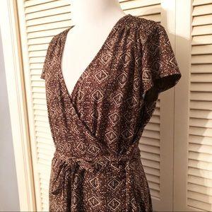 LOFT Dresses - Loft | 🌺Brown Cap Sleeve Faux Wrap Dress